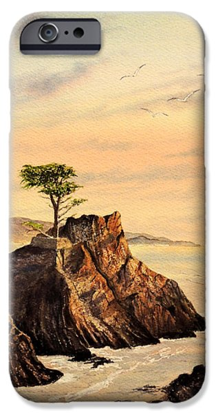 Birds iPhone Cases - Lone Cypress Tree Pebble Beach iPhone Case by Bill Holkham