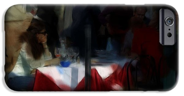 Waiter Digital iPhone Cases - Lone Diner iPhone Case by Ron Harpham