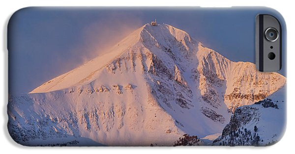 Skiing Art iPhone Cases - Lone Peak Alpenglow iPhone Case by Mark Harrington