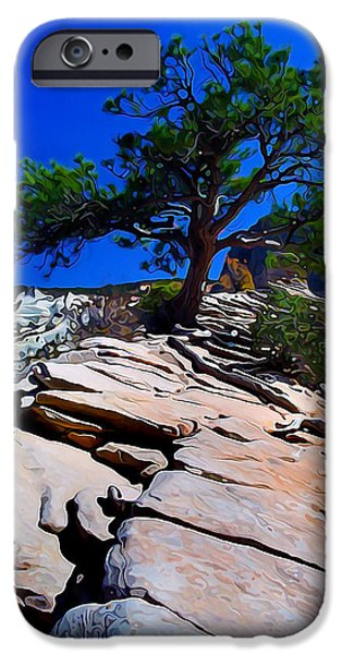 Angel Blues iPhone Cases - Lone Pine at Zion iPhone Case by Bill Caldwell -        ABeautifulSky Photography