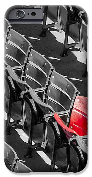 Lone Red Number 21 Fenway Park BW iPhone Case by Susan Candelario