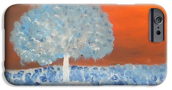 Reverse Art iPhone Cases - Lone Tree in Meadow Inversed iPhone Case by Ashley Davis