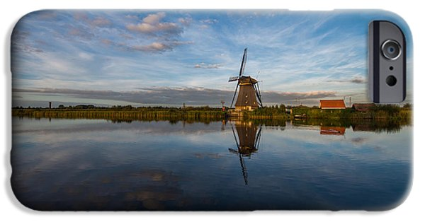Blue Sky Reflection iPhone Cases - Lone Windmill iPhone Case by Chad Dutson