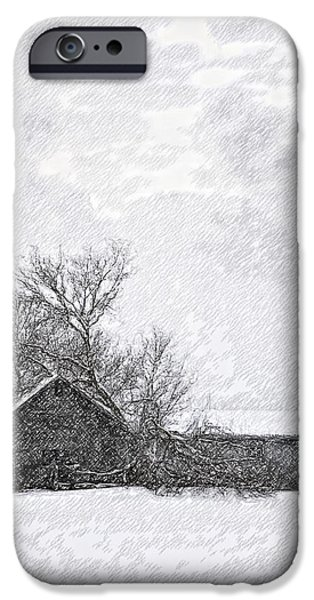 Winter Storm Digital iPhone Cases - Loneliness sketch iPhone Case by Steve Harrington