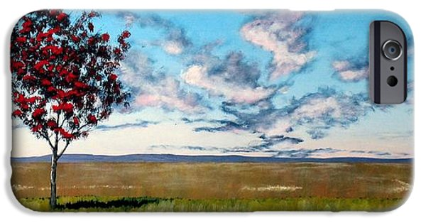 Field. Cloud iPhone Cases - Lonely Autumn Tree iPhone Case by Michael Dillon