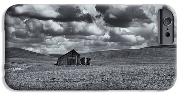 Barns iPhone Cases - Lonely Barn on the Prairie iPhone Case by Mike Dawson