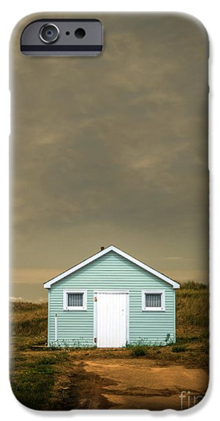 Moody Beach iPhone Cases - Lonely Beach Shack iPhone Case by Edward Fielding