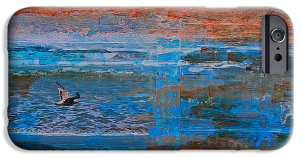 Flying Seagull Mixed Media iPhone Cases - Lonely Flyer Right Panel Of Morro Bay Panorama iPhone Case by Walter Fahmy