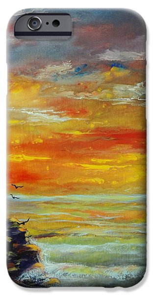 Ocean Sunset iPhone Cases - Lonely Light iPhone Case by Connie Townsend