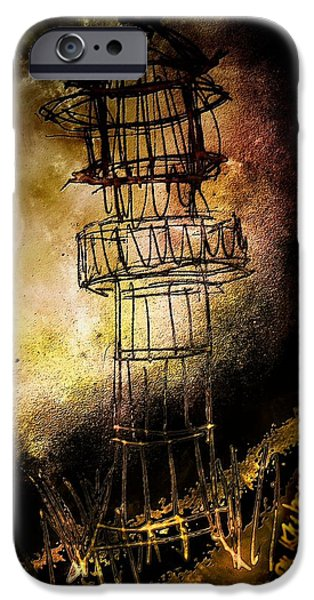 Lighthouse Mixed Media iPhone Cases - Lonely Lighthouse iPhone Case by Mimulux patricia no
