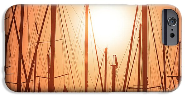 Sailboat Pyrography iPhone Cases - Lonely masts iPhone Case by Oliver Sved