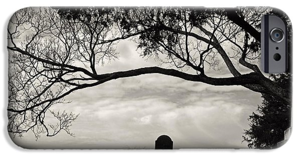 Headstones iPhone Cases - Lonely iPhone Case by Off The Beaten Path Photography - Andrew Alexander