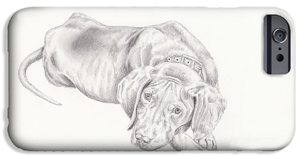 Puppies Drawings iPhone Cases - Lonely Pup iPhone Case by Theresa Stinnett