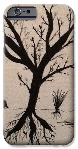Tree Roots Drawings iPhone Cases - Lonely Tree iPhone Case by Drew Click