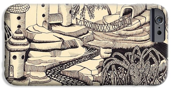 Weeping Drawings iPhone Cases - Lonely village iPhone Case by Bryan Redfearn