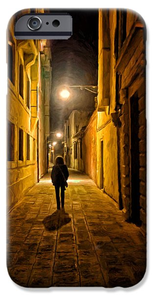 Alley Paintings iPhone Cases - Lonely Walk Home iPhone Case by Michael Pickett