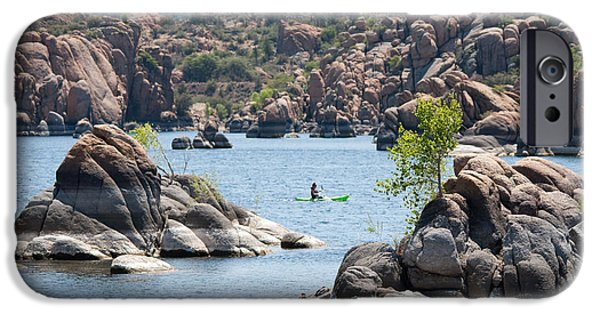 Prescott iPhone Cases - Lonesome Kayaker iPhone Case by Shannon Hastings
