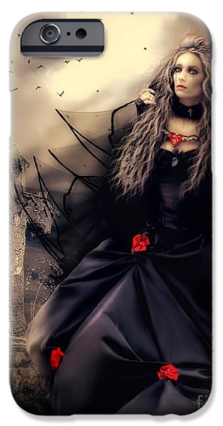 Red-haired Women iPhone Cases - Long Black Veil iPhone Case by Shanina Conway