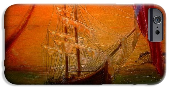 Pirate Ship Mixed Media iPhone Cases - Long Boat Cay iPhone Case by Hank  Bufkin