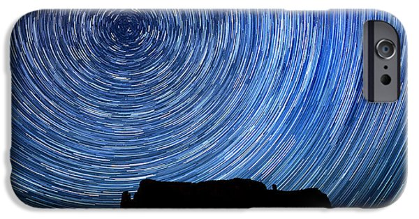 Constellations Pyrography iPhone Cases - Long Exposure Star Trail Image at Night iPhone Case by Katrina Brown