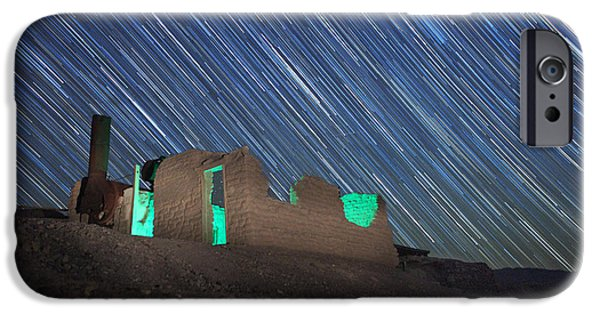 Constellations Pyrography iPhone Cases - Long Exposure Star Trail Image iPhone Case by Katrina Brown