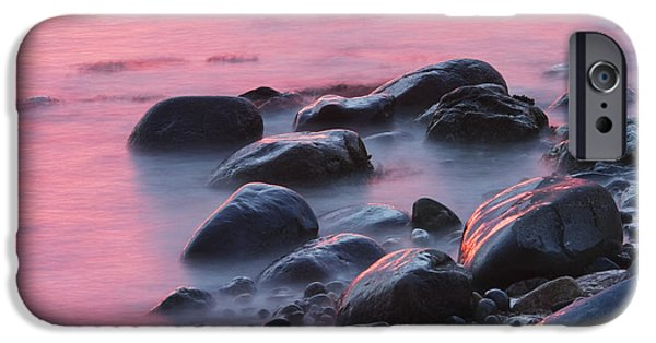 Maine Photographs iPhone Cases - Long Exsposure Of Rocks And Waves At Sunset Maine iPhone Case by Keith Webber Jr