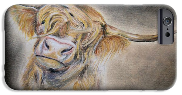 Fury Pastels iPhone Cases - Long Haired Cow iPhone Case by Michelle Iglesias
