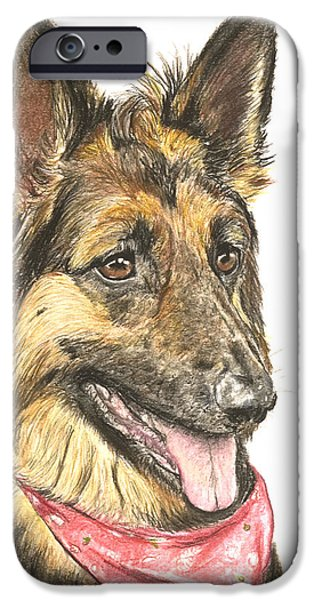 Police Pastels iPhone Cases - Long Haired German Shepherd in Red Bandana iPhone Case by Kate Sumners