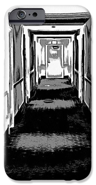Eerie Mixed Media iPhone Cases - Long Hallway iPhone Case by Dan Sproul