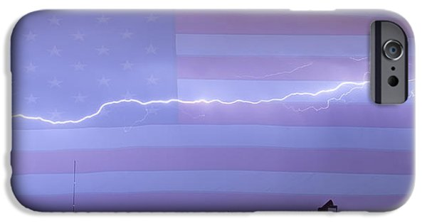 The Lightning Man iPhone Cases - Long Lightning Bolt Across American Oil Well Country Sky iPhone Case by James BO  Insogna