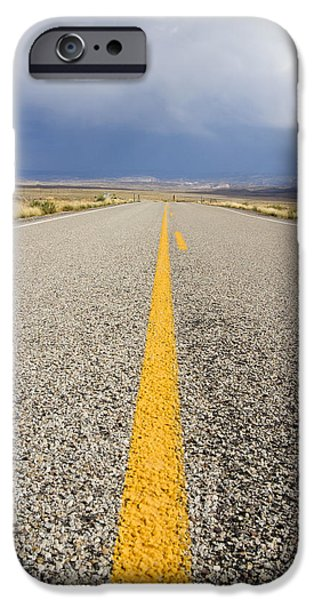 Asphalt iPhone Cases - Long Lonely Road iPhone Case by Adam Romanowicz