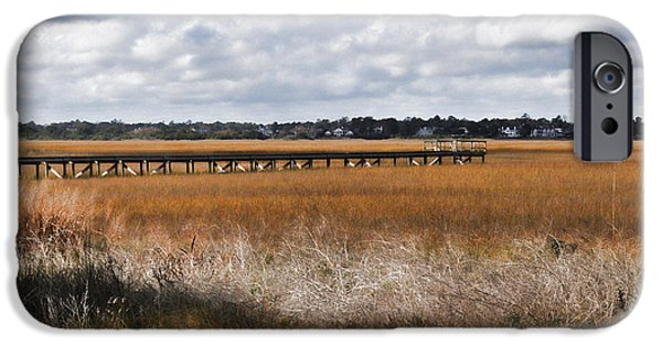 Coastal Decor Digital iPhone Cases - Long Marsh Dock iPhone Case by Paulette B Wright