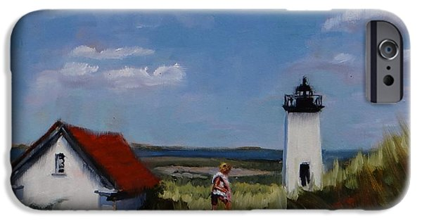 Lighthouse Paintings iPhone Cases - Long Point Lighthouse iPhone Case by Laura Lee Zanghetti