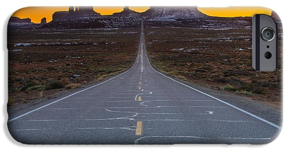 White House iPhone Cases - Long Road to Monument Valley iPhone Case by Larry Marshall
