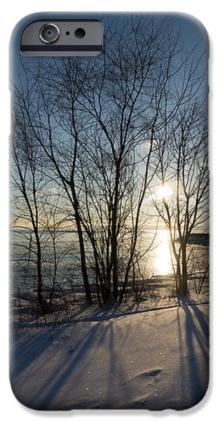 Snowbank iPhone Cases - Long Shadows in the Snow iPhone Case by Georgia Mizuleva