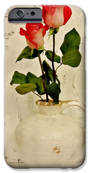 Pottery Pitcher iPhone Cases - Long Stemmed Red Roses In Pottery iPhone Case by Marsha Heiken