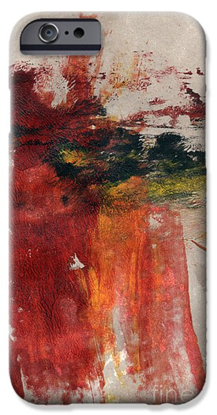 Abstracted Mixed Media iPhone Cases - Long Time Coming iPhone Case by Linda Woods