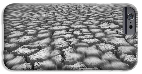 Cracks Digital Art iPhone Cases - Long Walk On A Hot Day iPhone Case by Mike McGlothlen