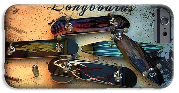 Skateboards iPhone Cases - Longboards iPhone Case by Louis Ferreira