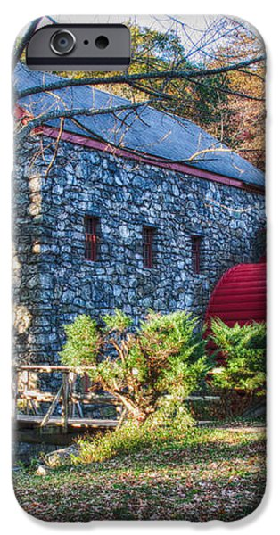 Longfellow's Wayside Inn grist mill in Autumn iPhone Case by Jeff Folger