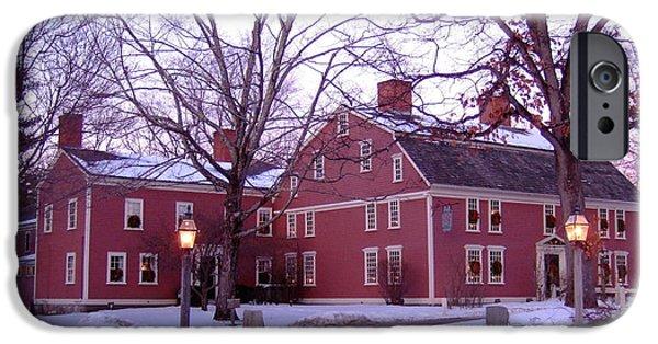Sudbury Ma iPhone Cases - Longfellows Wayside Inn in Winter iPhone Case by Nancy Nehez