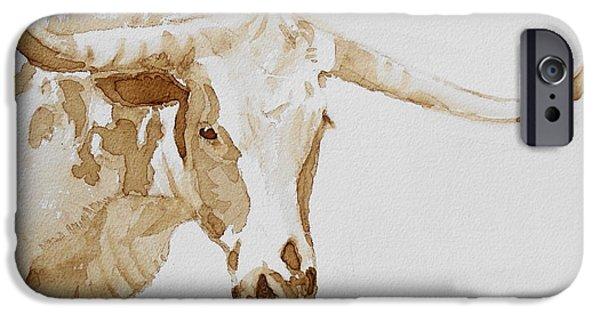 Texas Longhorn iPhone Cases - Longhorn iPhone Case by Judy Fischer Walton