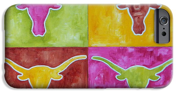 Texas Longhorn iPhone Cases - Longhorn Pop Art iPhone Case by Patti Schermerhorn