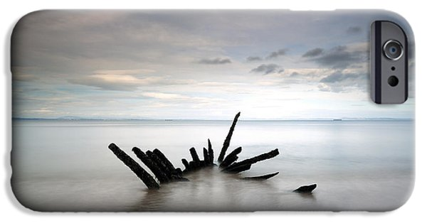 North Sea iPhone Cases - Longniddry Ship Wreck iPhone Case by Grant Glendinning