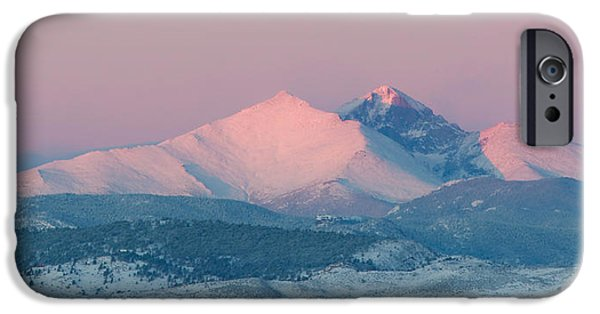 Lady Washington iPhone Cases - Longs Peak Alpenglow in Winter iPhone Case by Aaron Spong