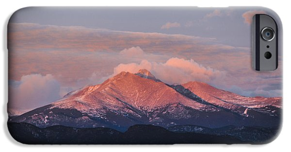Ft Collins iPhone Cases - Longs Peak Sunrise iPhone Case by Aaron Spong