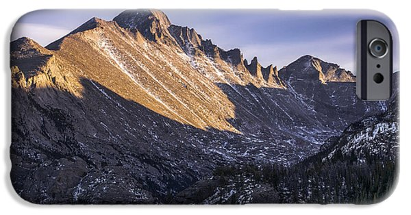 Reflection Of Sun In Clouds iPhone Cases - Longs Peak Sunset iPhone Case by Aaron Spong