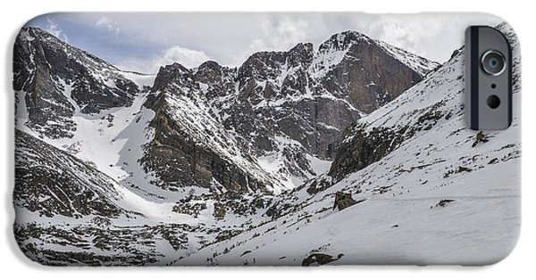 Lady Washington iPhone Cases - Longs Peak Winter iPhone Case by Aaron Spong