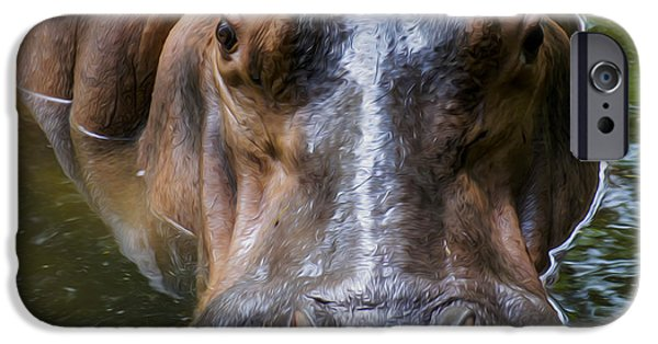 Hippopotamus Digital Art iPhone Cases - Look me in the eyes iPhone Case by Aged Pixel