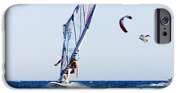 Windsurfer iPhone Cases - Look No Hands iPhone Case by Stylianos Kleanthous